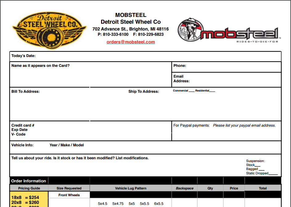 Detroit Steel Wheel Order Form
